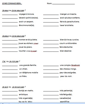 Conjugation and sentence practice with irregular French verbs: who are you?