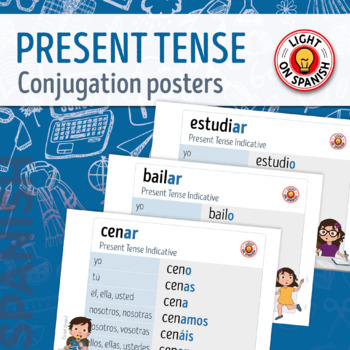 Spanish Present Tense Conjugation charts for 20 regular ve