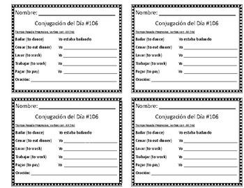 Conjugation of the Day 106-120 (Conjugación del Día 106-120)
