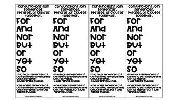 Conjunction Book Marks- Compound Sentences/FANBOYS