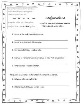 Conjunction Handout/Assessment