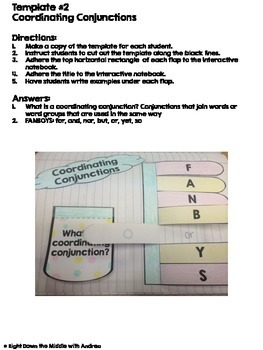 Conjunctions Interactive Notebook Templates
