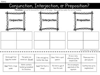 Conjunction Interjection or Preposition? Cut and Paste