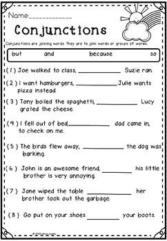 Conjunction/Literacy worksheets /Grade2and 3