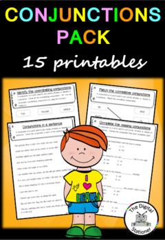 Conjunction Pack (Parts of Speech) – 15 worksheet/printables