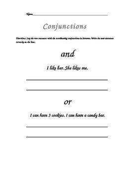 Conjunction Sentences Writing Practice
