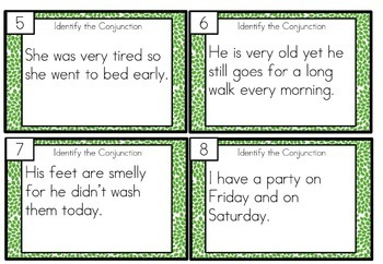 Conjunctions Task Cards Differentiated