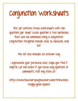 Conjunction Worksheet