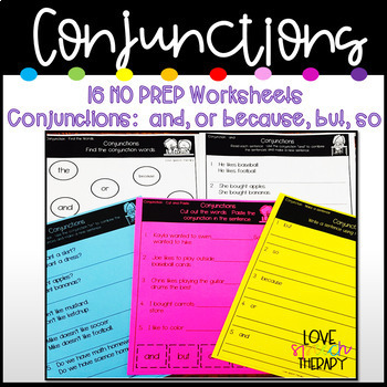 Conjunctions - 16 SIMPLE NO PREP Worksheets