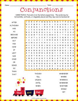 conjunctions word search puzzle by puzzles to print tpt