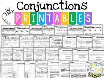 Conjunctions BUNDLE:  45 Task Cards 15 Printables, and a PowerPoint Activity!