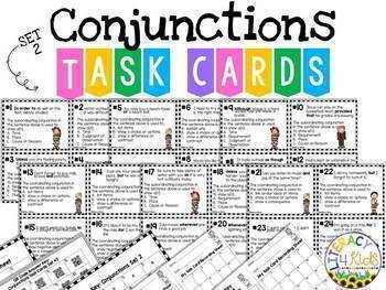 Conjunctions BUNDLE:  Worksheets, Task Cards, Boom Cards, PowerPoint