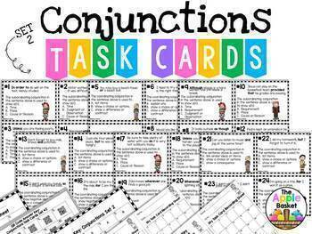 Conjunctions: 44 Task Cards and 15 No Prep Printables