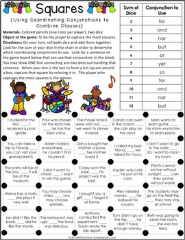 Conjunctions Games {Coordinating Conjunctions, Subordinating  Conjunctions   }