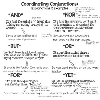 Coordinating Conjunctions | Speech and Language Therapy