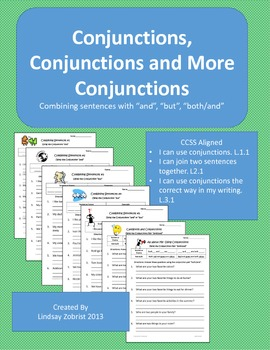 Conjunctions: 2nd-3rd Grad Common Core Practice Packete