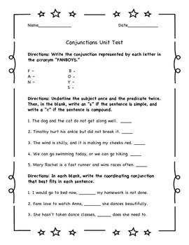 Conjunctions Assessment