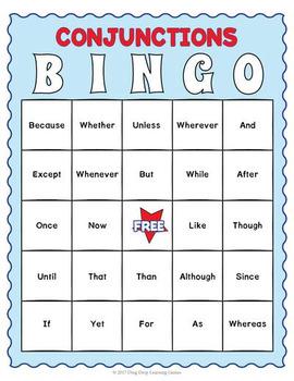 Conjunctions Bingo Game