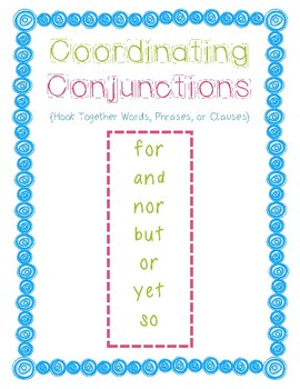Conjunctions Board Game, Poster, Practice Sheet