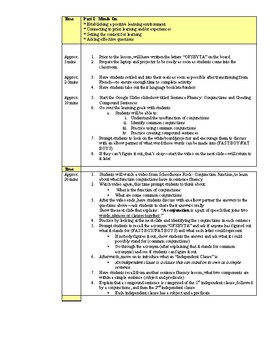 Conjunctions & Compound Sentences Lesson- Grade 8