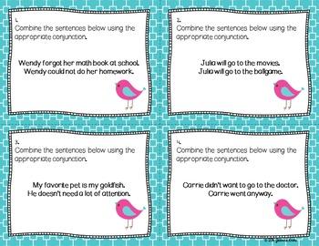 Conjunctions - Compound Sentences Task Cards