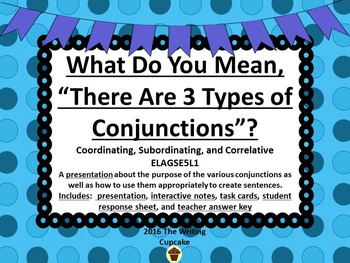 Conjunctions:  Coordinating, Subordinating, & Correlative