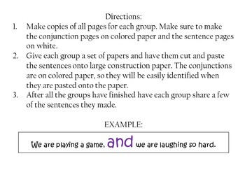 """Conjunctions Cut and Paste """"fanboys"""""""