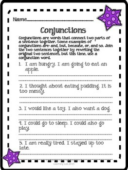 Conjunctions, Determiners, Prepositions, and Types of Sentences Activity Pack
