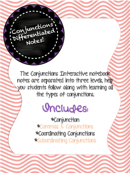 Conjunctions Differentiated Interactive Notes