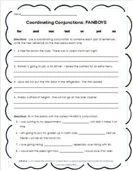 Conjunctions FANBOYS Worksheet