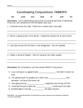 conjunctions fanboys worksheet by miss miller makes a difference. Black Bedroom Furniture Sets. Home Design Ideas