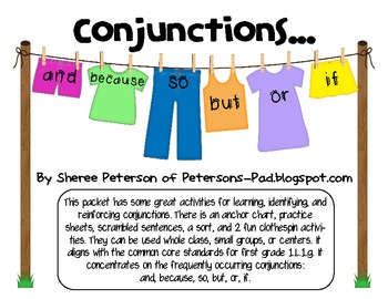 Conjunctions For First Grade By Sheree Peterson Tpt