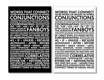 Conjunctions, Parts of Speech Poster for Secondary Classrooms, Grammar Poster