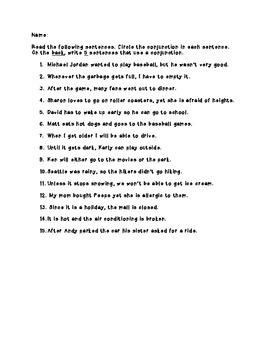 Conjunctions Practice