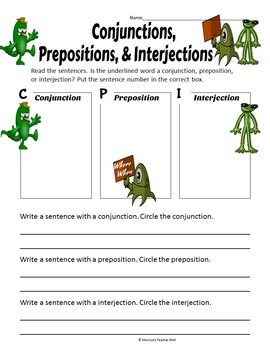 Conjunctions Prepositions and Interjections Activity