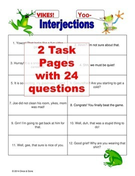 Conjunctions Prepositions Interjections Activity Bundle