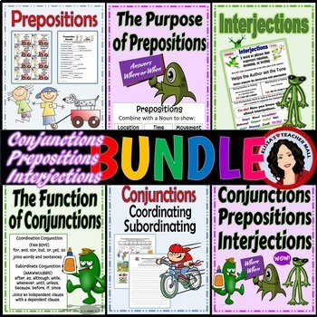 Conjunctions, Prepositions, Interjections Activity Bundle