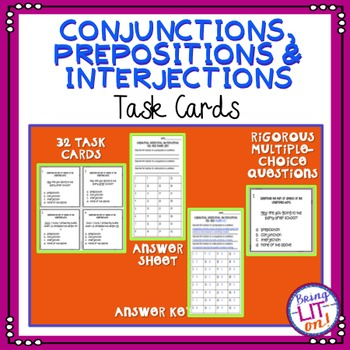 Conjunctions, Prepositions, and Interjections Task Cards