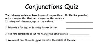 Conjunctions Quiz