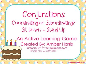 Conjunctions Sit Down Stand Up Active Learning Game
