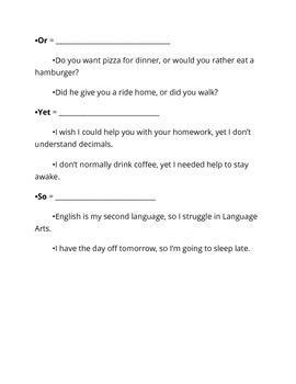 Conjunctions Skeletal Notes