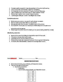 Conjunctions Study Guide