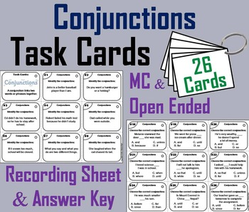 2nd 3rd 4th Grade Conjunctions Task Cards