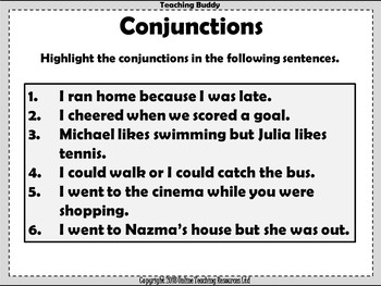 Conjunctions Teaching Powerpoint