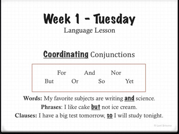 Conjunctions Unit with PowerPoint, Handouts, and Quiz