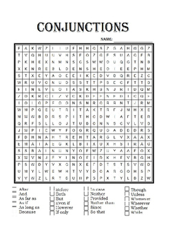 Conjunctions Word Search