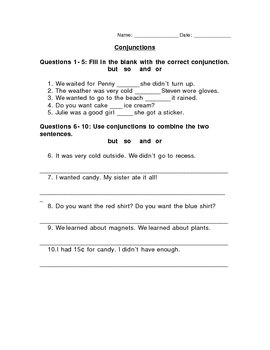 Coordinating And Subordinating Conjunctions Worksheets Worksheets ...