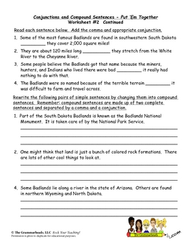 Conjunctions Worksheet Packet and Lesson Plan - 8 pages plus answer key