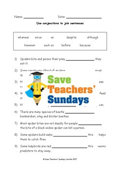 Conjunctions Worksheets (2 levels of difficulty and extension)