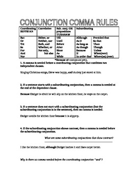 Subordinating and Coordinating Conjunctions Comma Rules--the Four Most Common